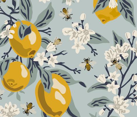 Colorful Fabrics Digitally Printed By Spoonflower Bees Lemons Jumbo Blue Original Colors Bee Decor Tree Wallpaper Fruit Wallpaper