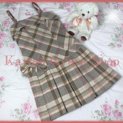 vintage liz lisa plaid wool jumper dress  japanese