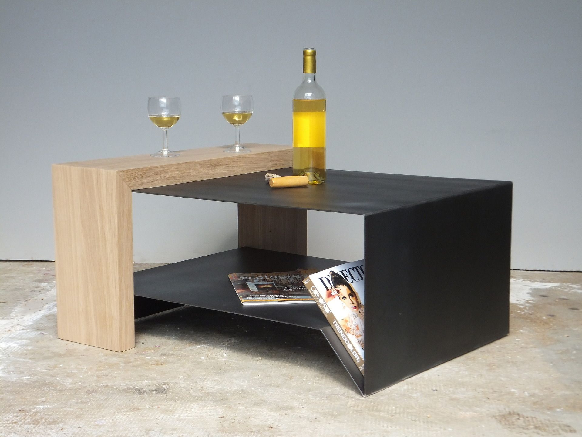 Petite Table Basse Contemporaine Acier Et Bois Mobi050