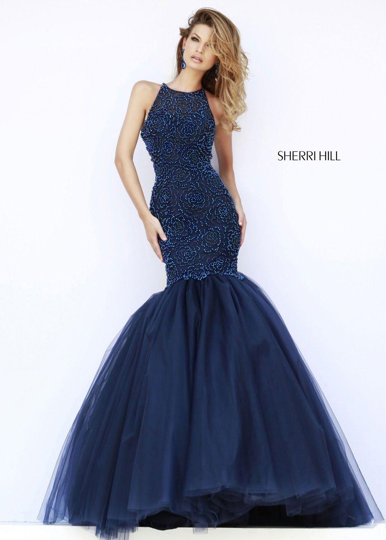 Sherri Hill 32095 Navy Open Back Sparkly Jeweled Mermaid Dress
