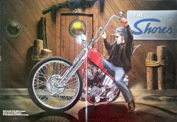 DAVID MANN Self Portrait Motorcycle Art Slip by StillsofTime