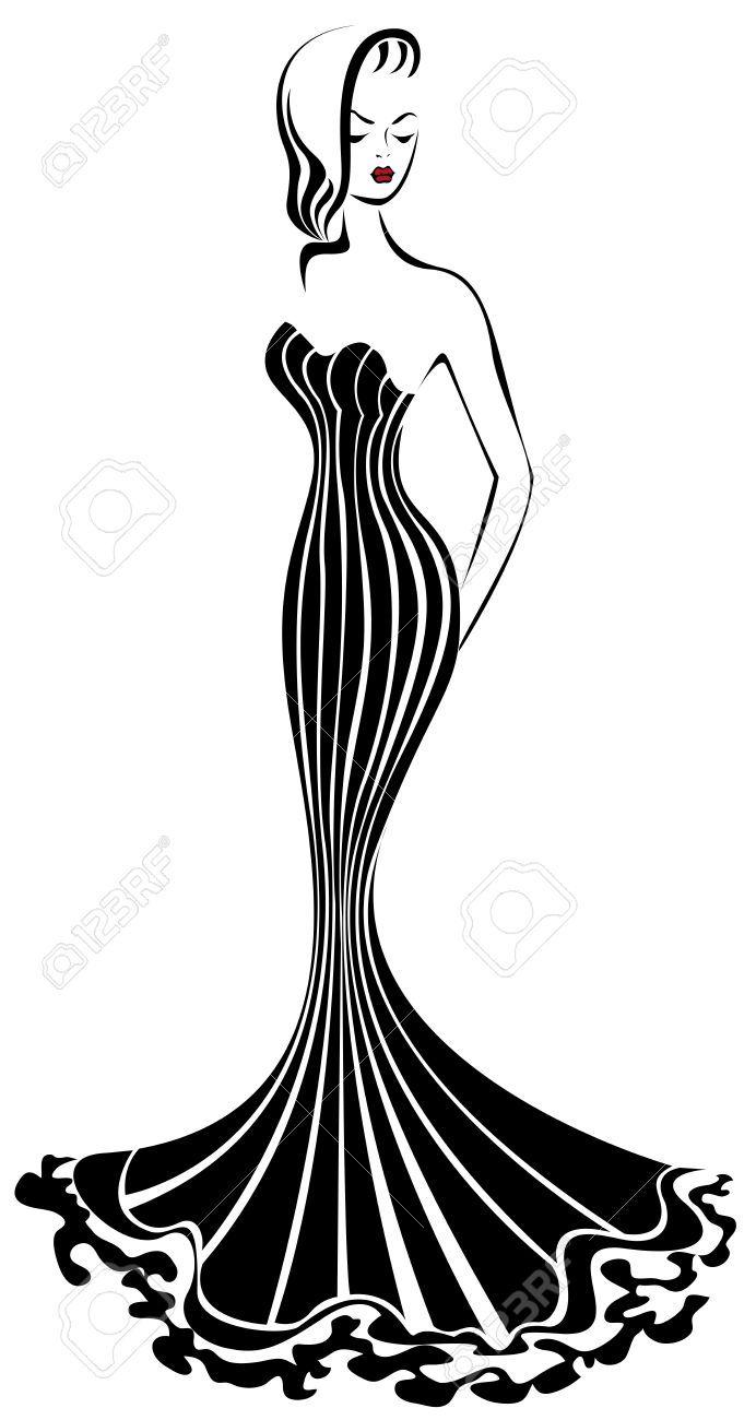 Silhouette Of Elegant Woman In A Long Black Dress Shoe Wall Art Fashion Illustration Vintage Fashion Art Illustration
