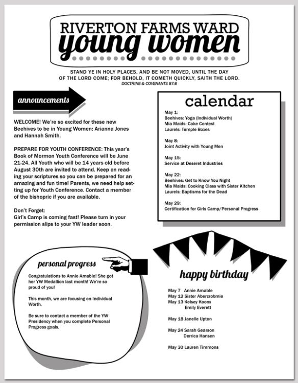 pin by shelly blaser on yw pinterest newsletter templates young