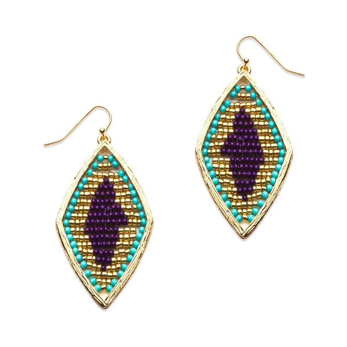 Kyra Earrings - beaded beauties featuring a stunning diamond design in bright blues and gold. $32