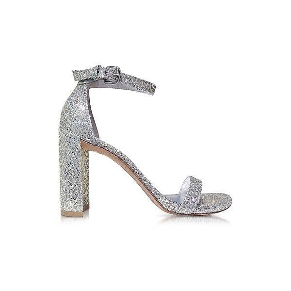 Stuart Weitzman Shoes Walkway Chrome Glitter Lace High