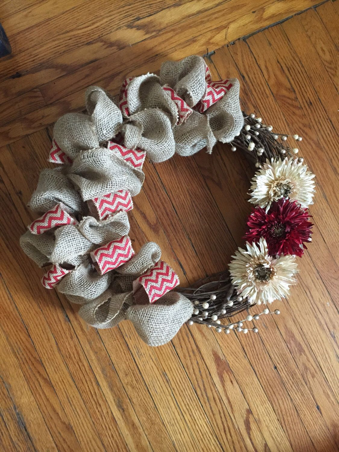 Burlap Wreath- personalized by midwesternbell on Etsy https://www.etsy.com/listing/293917545/burlap-wreath-personalized