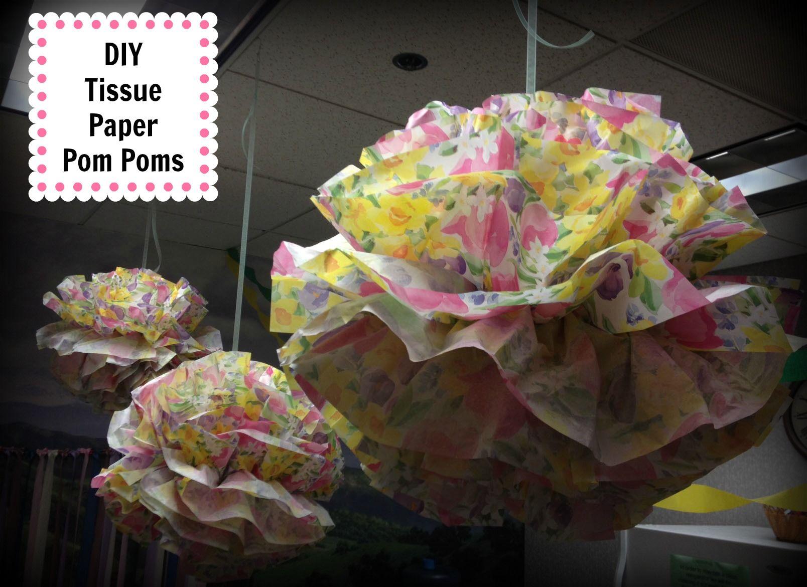 Hanging Pom Pom Decorations Diy Tissue Paper Pom Poms Diy Party Planning Pinterest