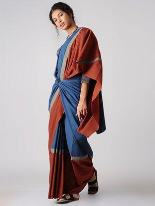 93dd0e51ebcbb Indigo-Madder Constructed Natural-dyed Cotton Saree by Jaypore
