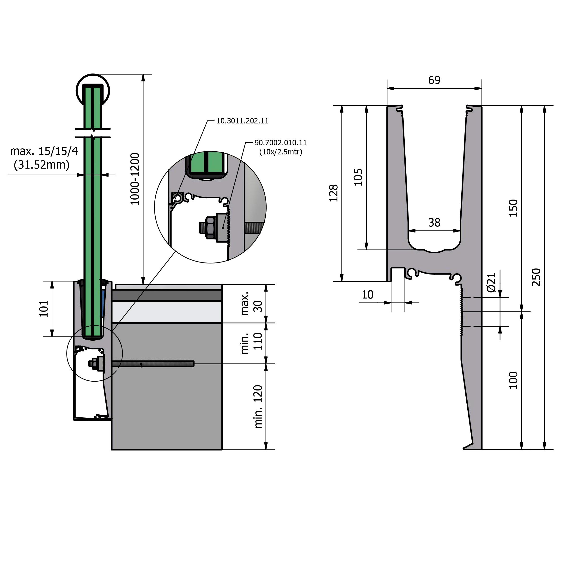 Holzgeländer Profile Side Mounted Glazing Channel Y Shaped Profile Details Pinterest
