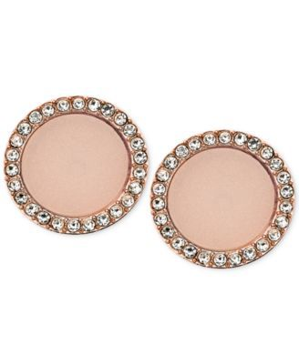 Michael Kors Rose GoldTone Disc Stud Earrings Jewelry Pinterest
