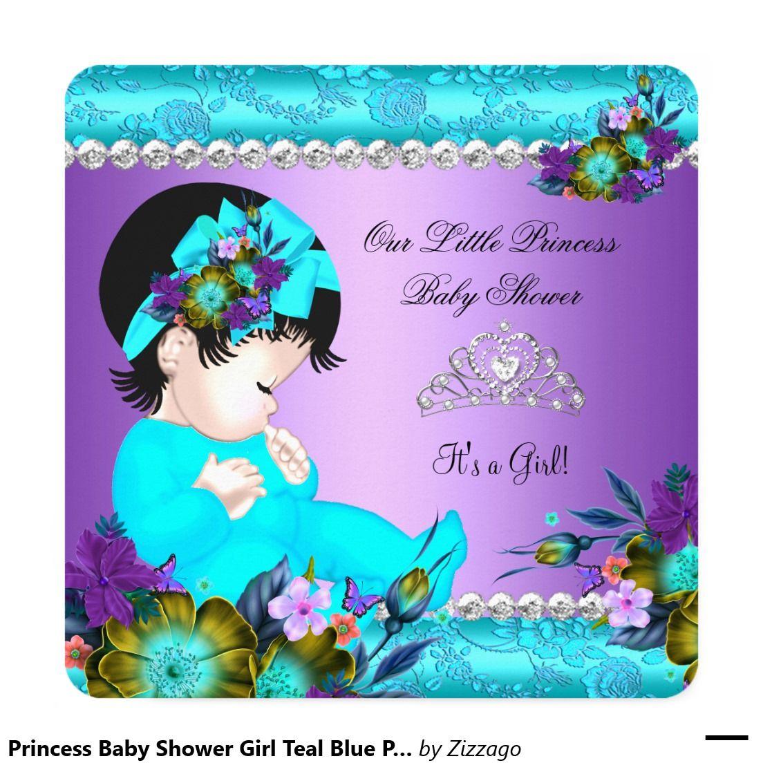 Princess Baby Shower Girl Teal Blue Purple Damask Invitation