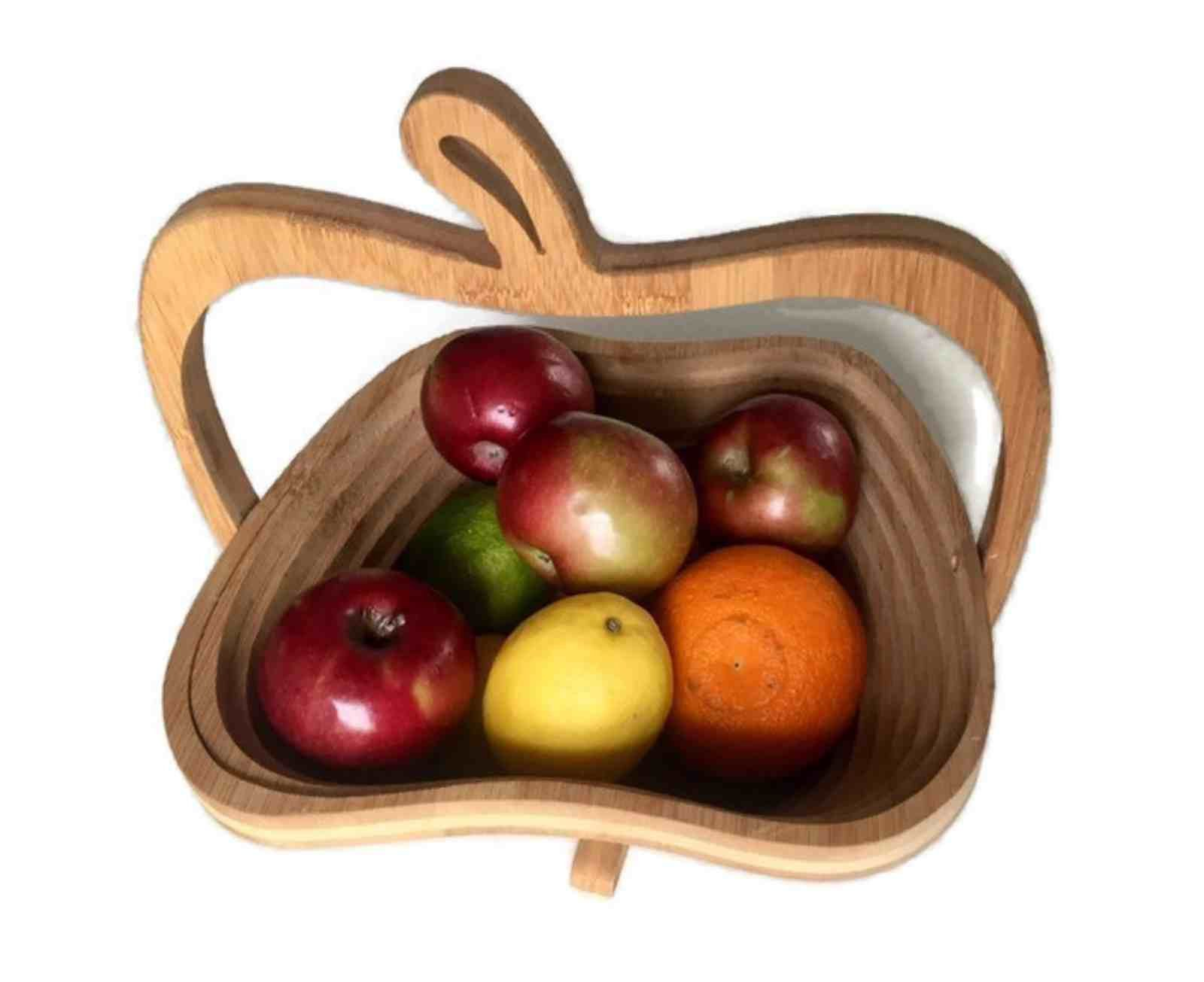 Vintage Collapsible Wooden Fruit Bowl Handcrafted Folding Wooden