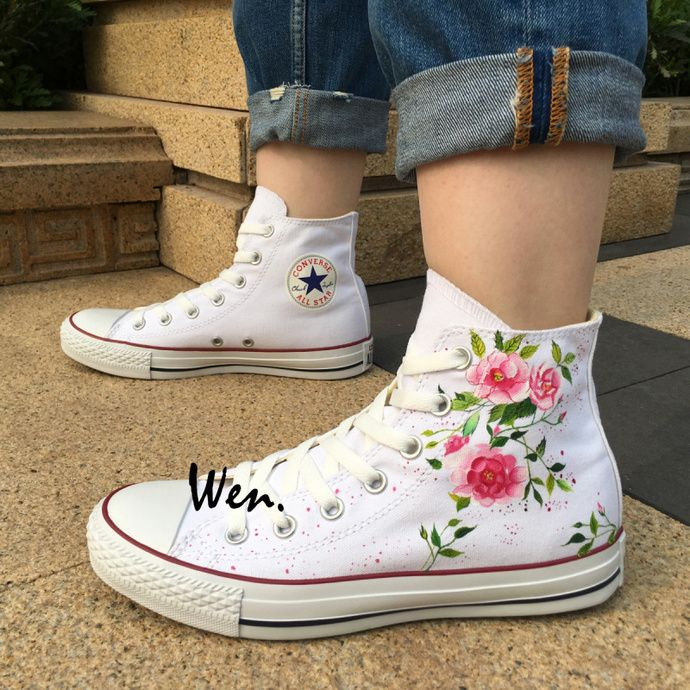 2df8a28e437 Custom Design Converse Wen Hand Painted Shoes Floral Flowers High Top White  Canvas Sneakers Birthday Gifts for Men Women by Wenartwork