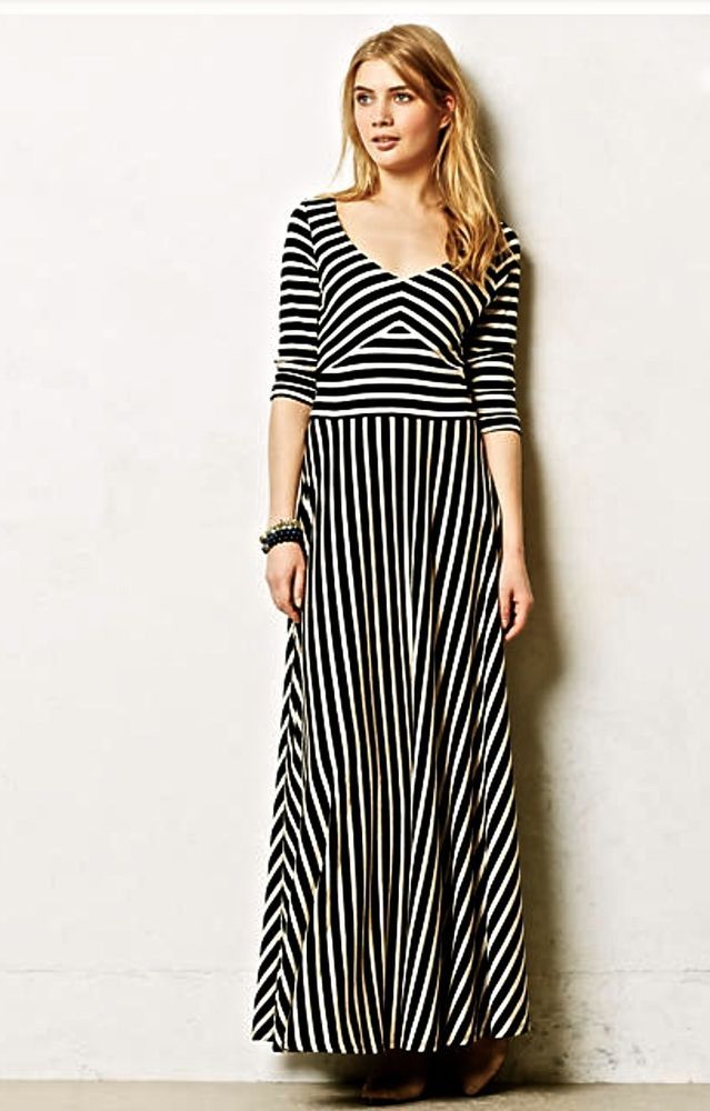 d5fd5c2bc2d58 NEW Anthropologie Puella black tan stripe stretch Demarcation Maxi Dress L # Puella #maxidress #versatile