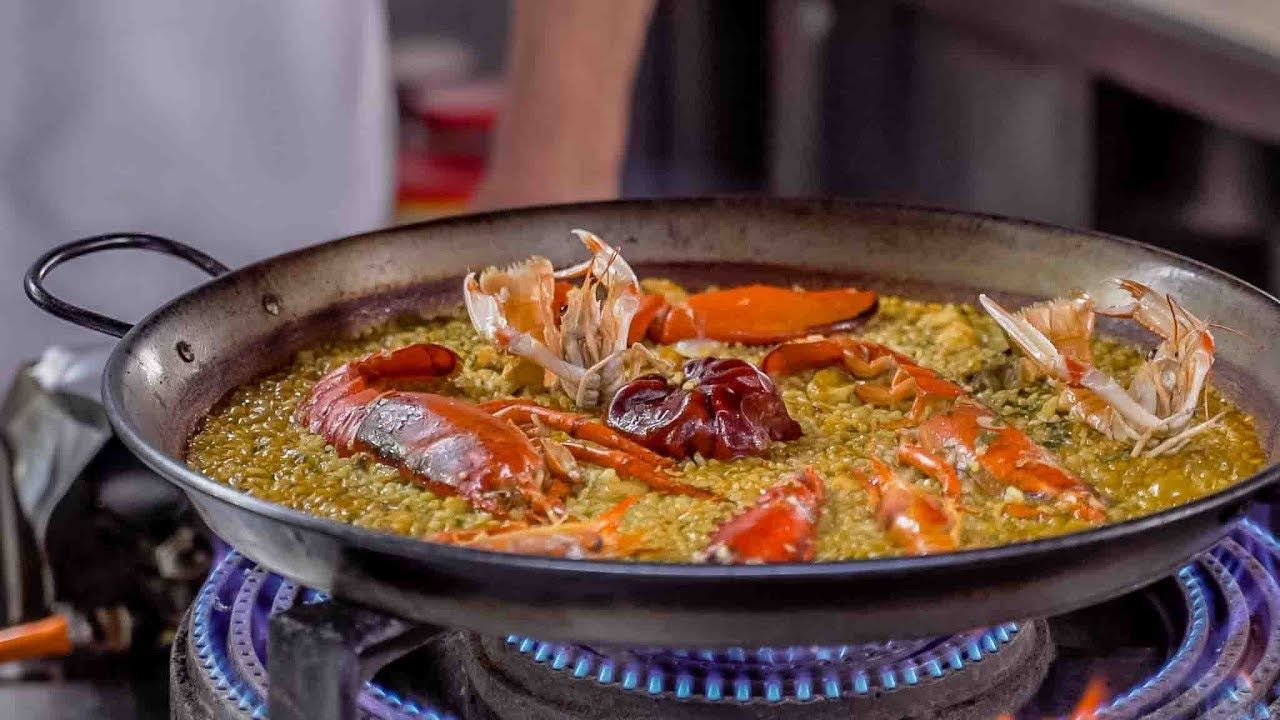 Paella De Bogavante Arroz Seco De Marisco Paella Cooking Savoury Food