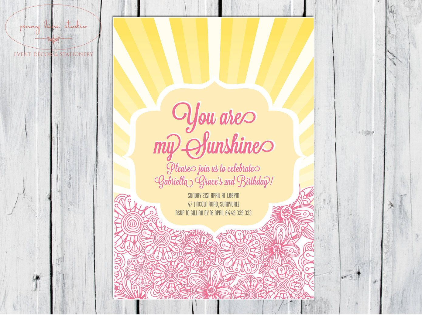 You are my sunshine invitation invite 1st by PennyLaneStudios