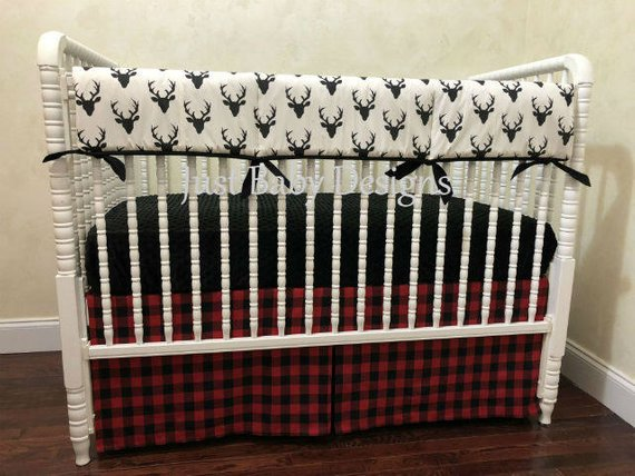 Baby Boy Crib Bedding Hayden Black Deer Red And Buffalo Check Plaid Woodland