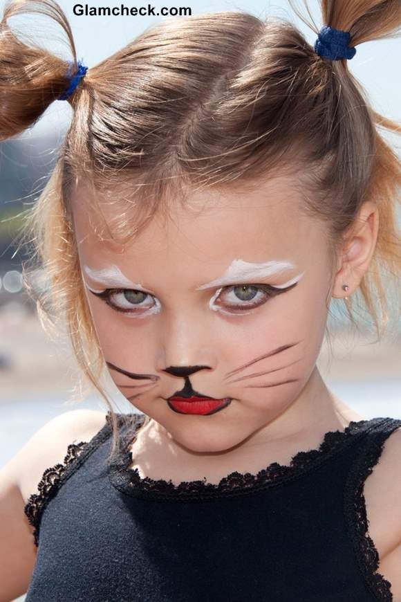 Cute Halloween Costume Makeup for Kids , Feline Makeup