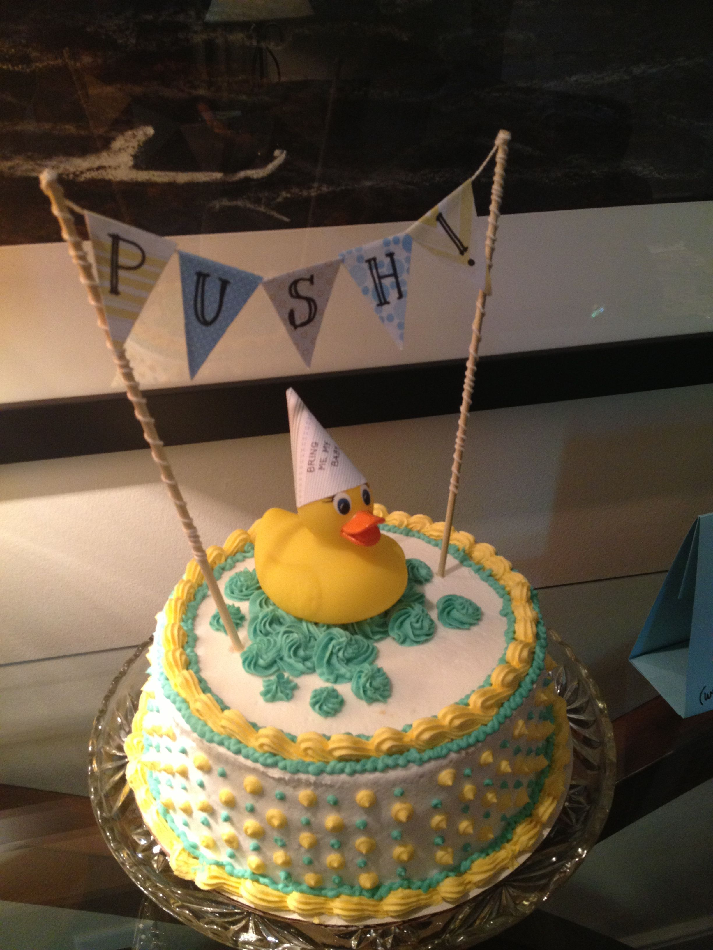 Baby Shower Cake With Rubber Duck And Pennants