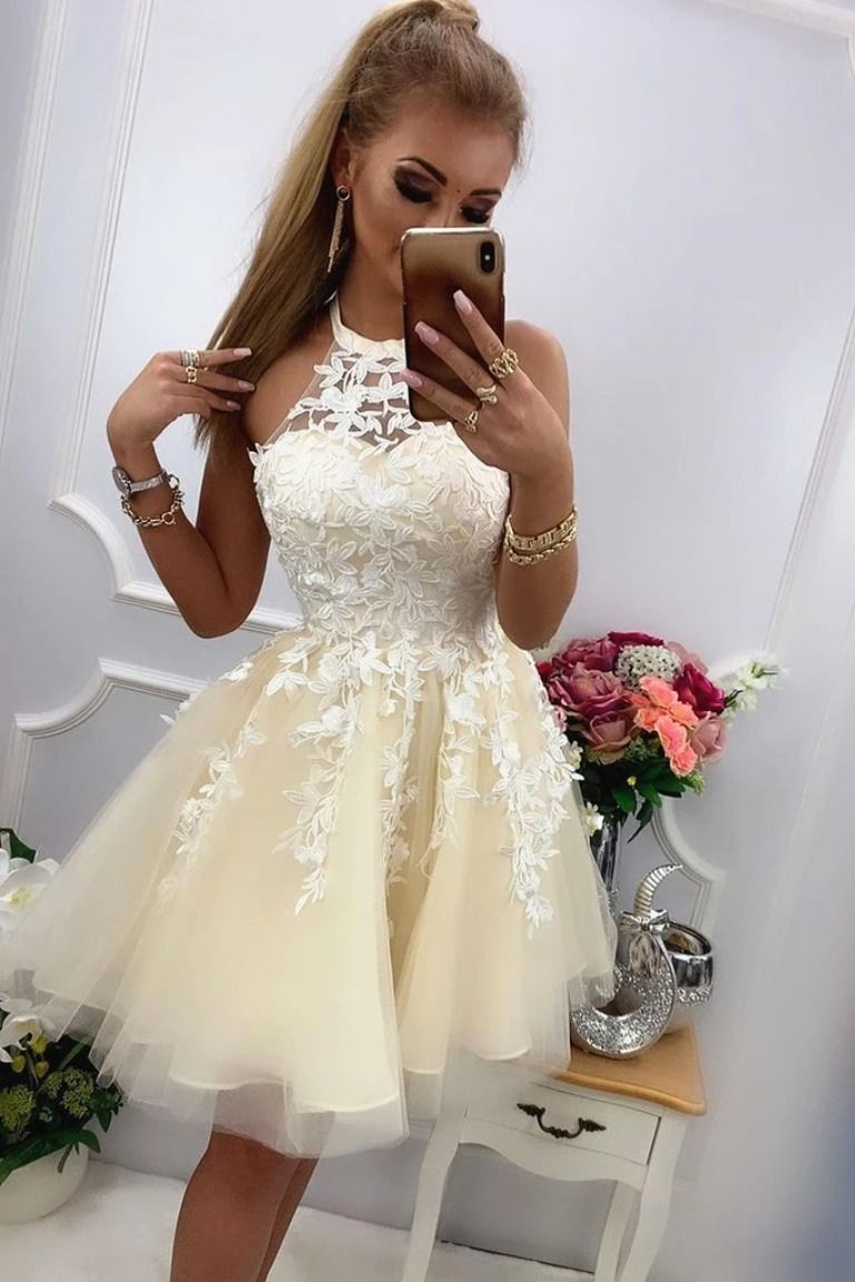 Round Neck Short Yellow Lace Prom Dresses, Short Yellow Lace Homecoming Graduation Cocktail Dresses