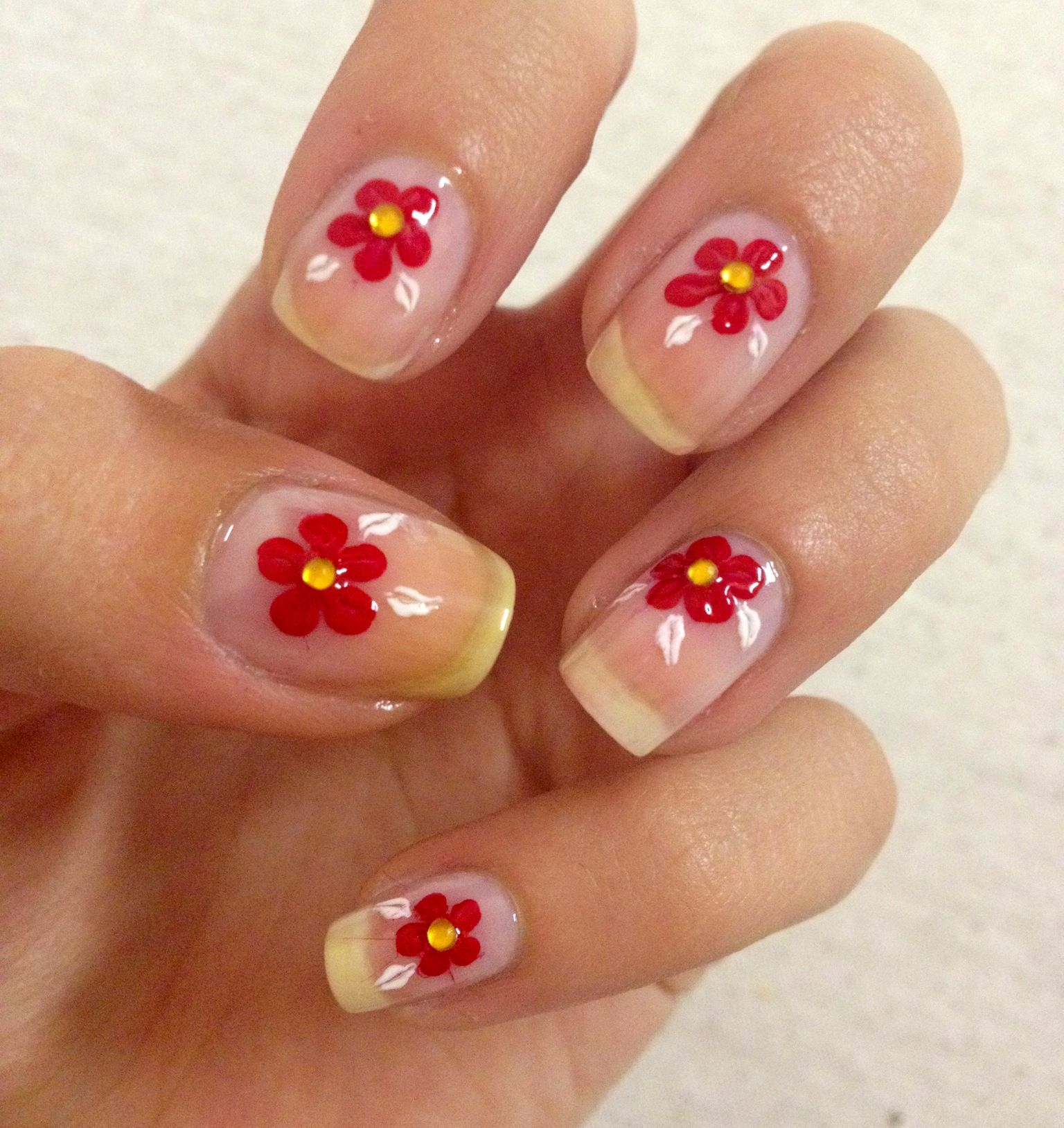 Red flowers on clear nails , short nails, nail art at home | Mari ...