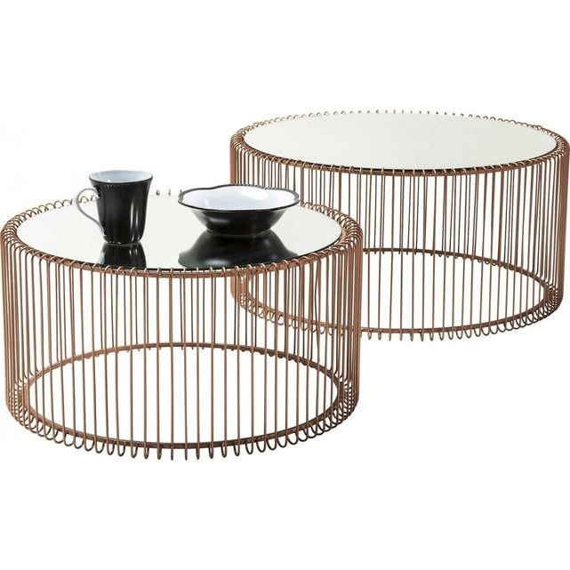 Table Basse Ronde Wire Cuivre 2 Set Kare Design Table Basse Ronde Table Basse Table Basse En Cuivre