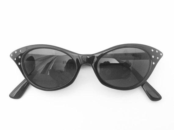 b1245dbc52 Cat Eye Sunglasses Black - Cateye Sunglasses - Vintage Cat Eye Glasses - Cateye  Glasses with Rhinest