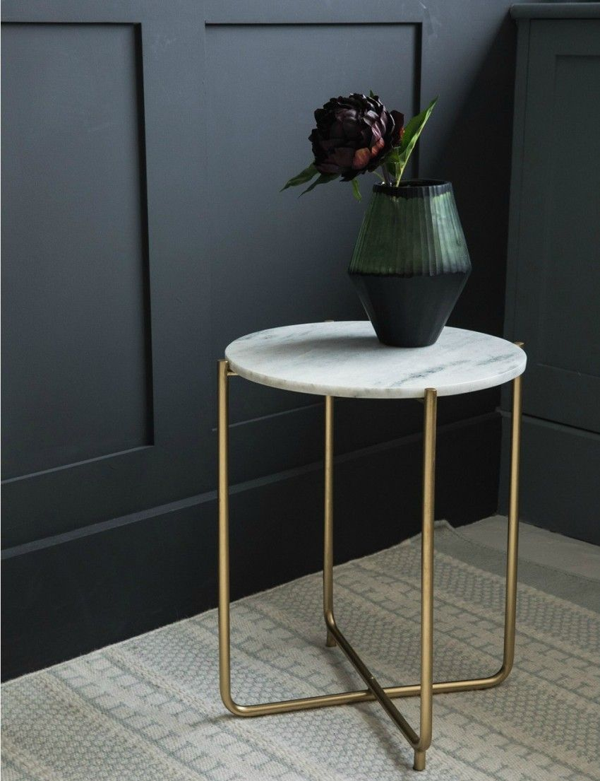 Gloria White Marble Side Table | Earlstoke Furnishing | Marble ...