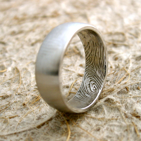 Simple Custom Made Finger Print Engraved Wedding Ring in K White Gold with Convex Profile and Satin