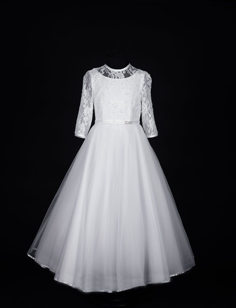 Long Sleeve Beaded Lace First Communion Dress Sophisticated Communion Dress With Fairytale Skir First Communion Dresses Communion Dresses First Communion Dress [ 1044 x 800 Pixel ]