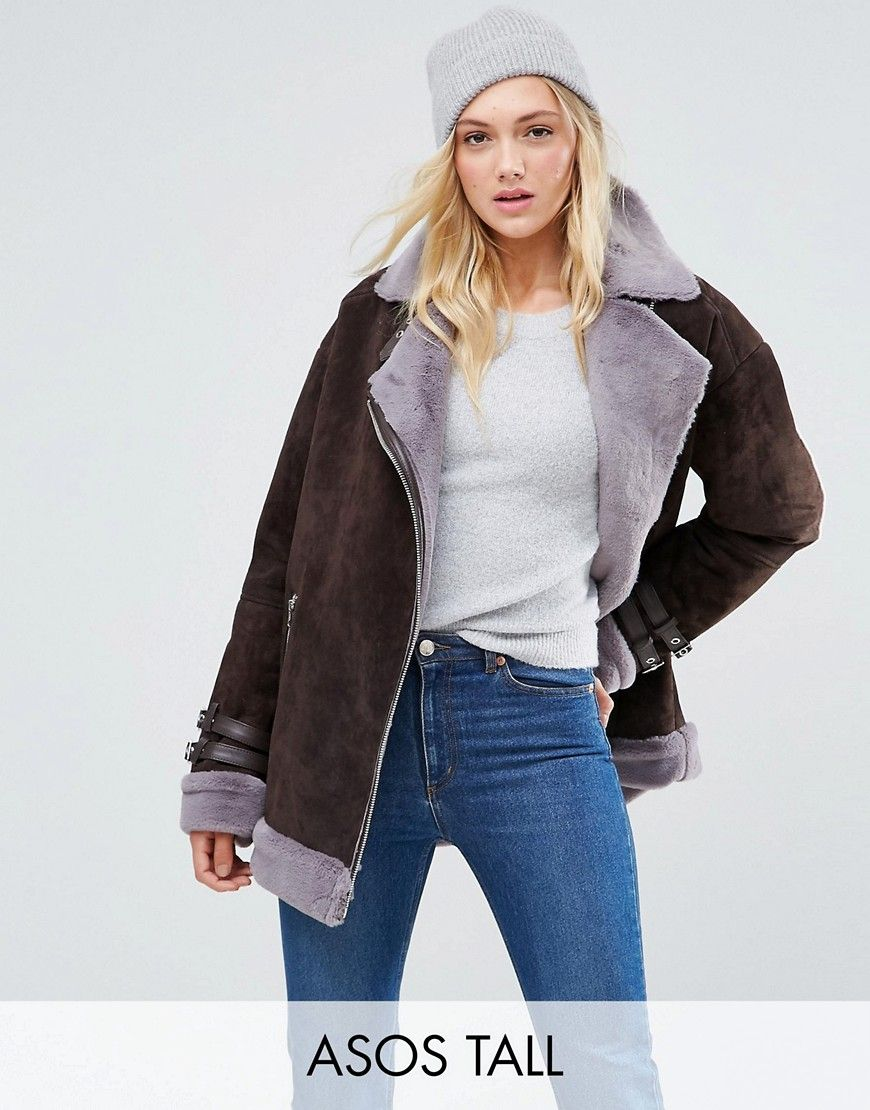 TALL Suede Aviator with Faux Shearling Asos, Fashion