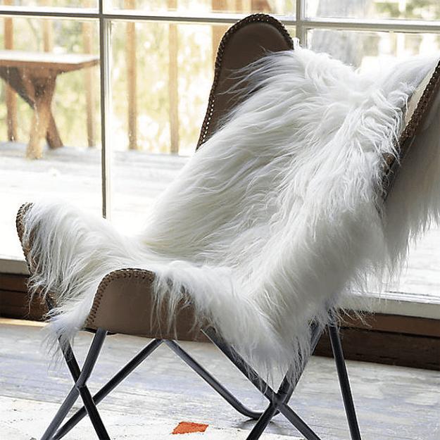 Ivory White Sheepskin Throw Rugs