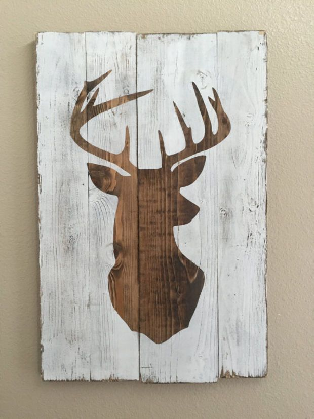 Beautiful White Distressed Deer Head Silhouette Wood Sign   Art   Home Decor