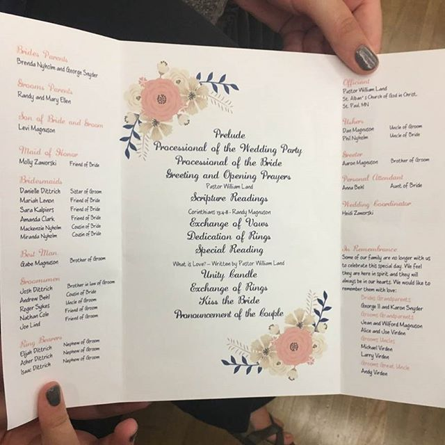 'A wedding program I made for my sisters friend who got married yesterday. . . Sometimes I feel like I should open an Etsy shop, ha.' by @emilyjolowry.  #bridesmaid #невеста #parties #catering #venues #entertainment #eventstyling #bridalmakeup #couture #bridalhair #bridalstyle #weddinghair #プレ花嫁 #bridalgown #brides #engagement #theknot #ido #ceremony #congrats #instawed #married #unforgettable #romance #celebration #wife #husband #celebrate #congratulations #together #smiles #forever…