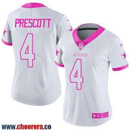 Women s Dallas Cowboys  4 Dak Prescott White Pink 2016 Color Rush Fashion  NFL Nike Limited Jersey 813f7455a