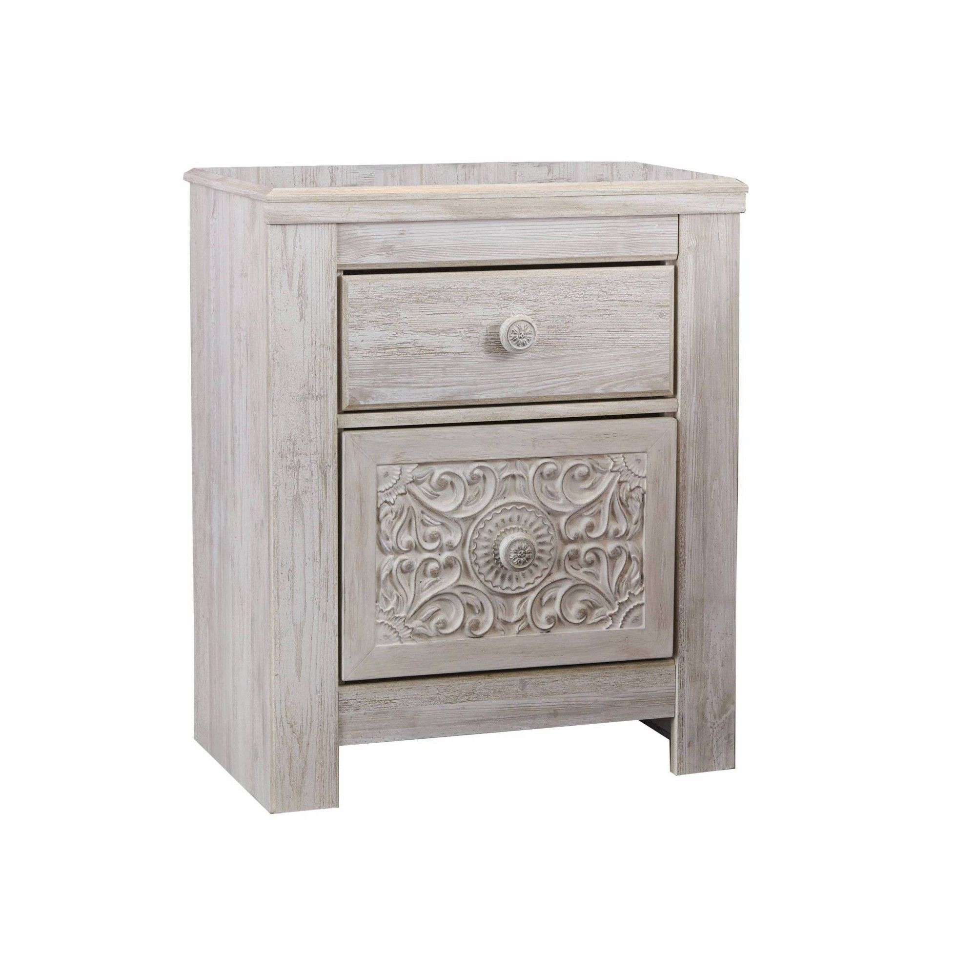 Paxberry Two Drawer Nightstand White Wash Signature