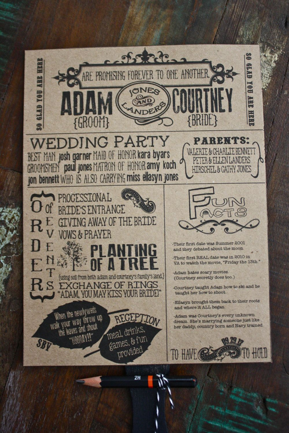 How Cool Would It Be To Make A Fun Program Like This Have There Little Pencil And Something Do Too Word Search Wedding Programs By Southern