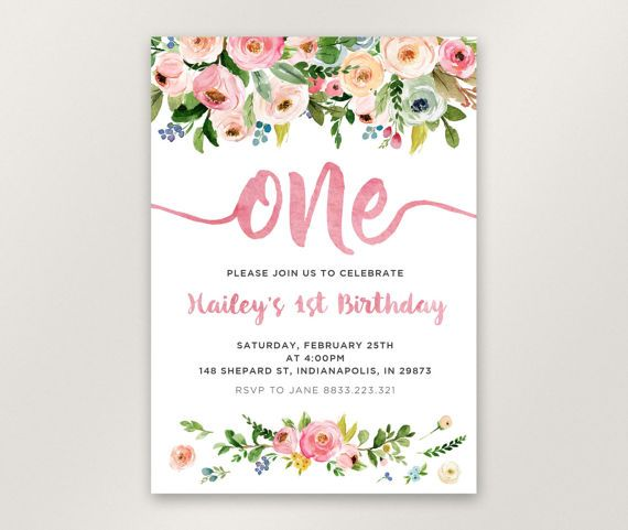 Floral St Birthday Invitation Girl First Birthday Invitation - Digital first birthday invitation