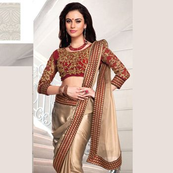 Bride's maid saree idea - Beige Shimmer Faux Georgette Saree with Blouse
