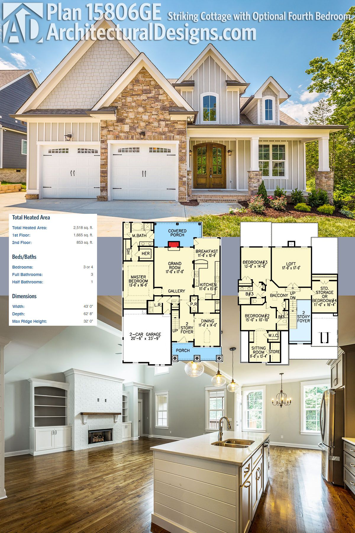 Plan 15806GE Striking Cottage with Optional Fourth