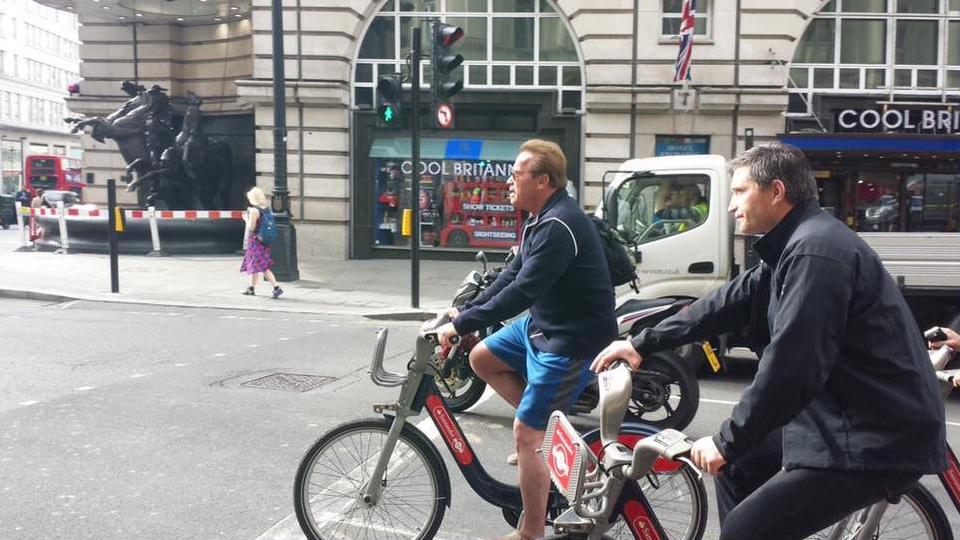 Arnold Schwarzenegger Spotted Boris Biking Around London Arnold