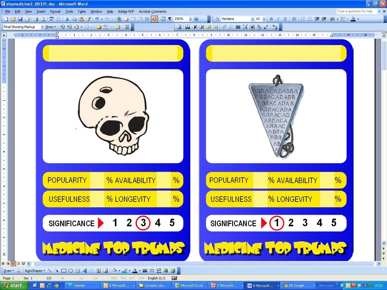 medicine top trumps revision cards word template  medicine top trumps revision cards word template
