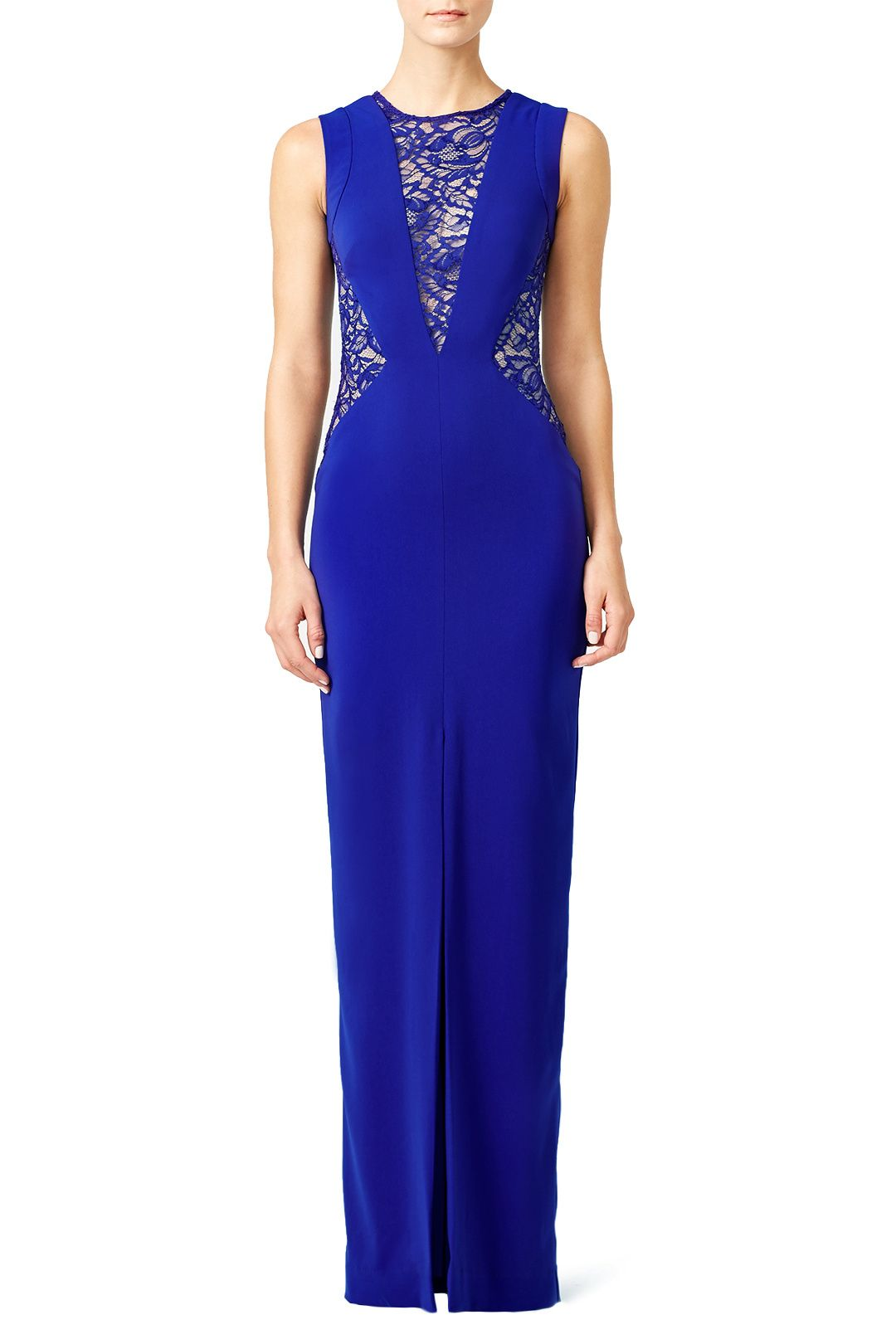 Rent Blue Lace Crepe Gown by Nicole Miller for $90 only at Rent the ...