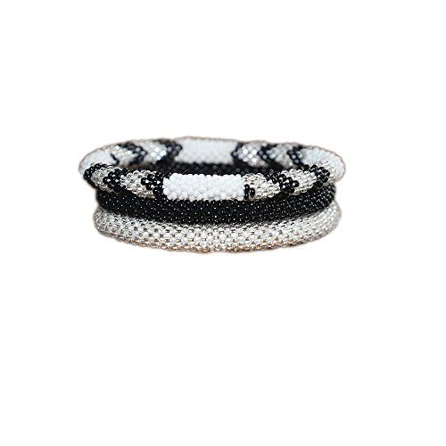 Black Silver White Chevron Crocheted Seed Beads Bracelet Set Handmade in Nepal Roll_in -- Check out this great product.Note:It is affiliate link to Amazon.