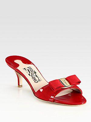 c36d056645 Salvatore Ferragamo Vara Patent Leather Kitten-Heel Bow Pumps ...