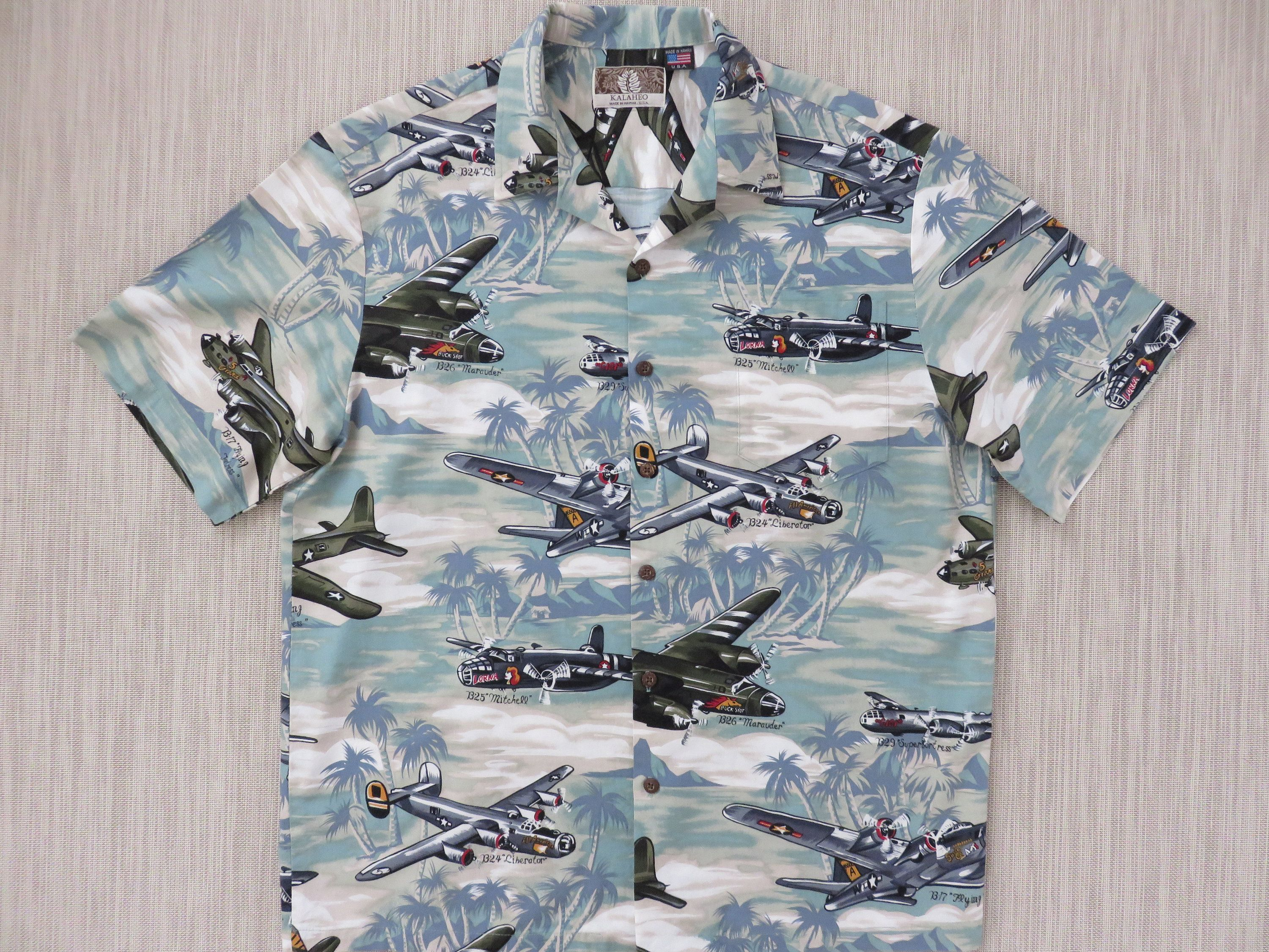 93041d8c0 Hawaiian Shirt Airplane Shirt KALAHEO Commerative World War II Bombers B17  B25 B26 B29 Planes 100% Cotton Camp - L - Oahu Lew's Shirt Shack by ...