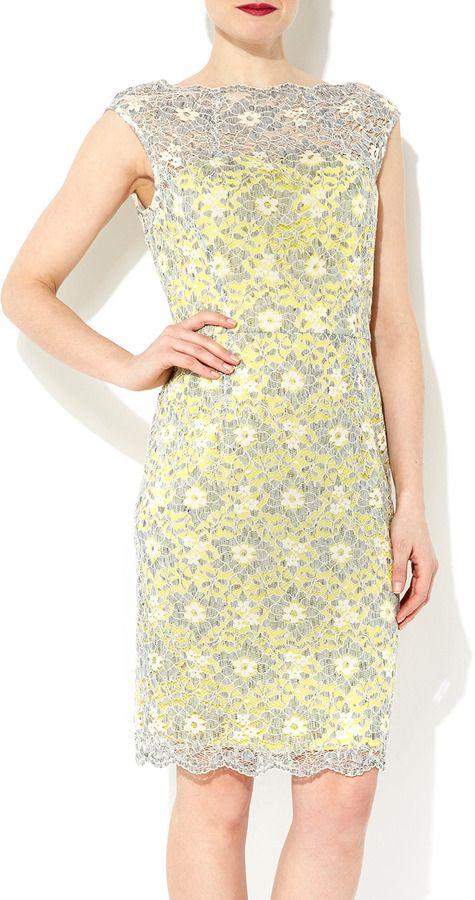 f52757c12e Wallis Yellow And Grey Lace Shift Dress on shopstyle.com