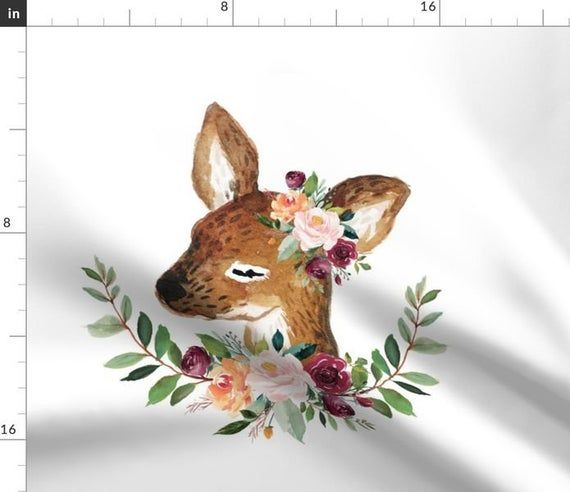 DEER FLOWER fabric panel, girl fawn baby animal pillow fabric, deer floral cushion fabric, cut and s