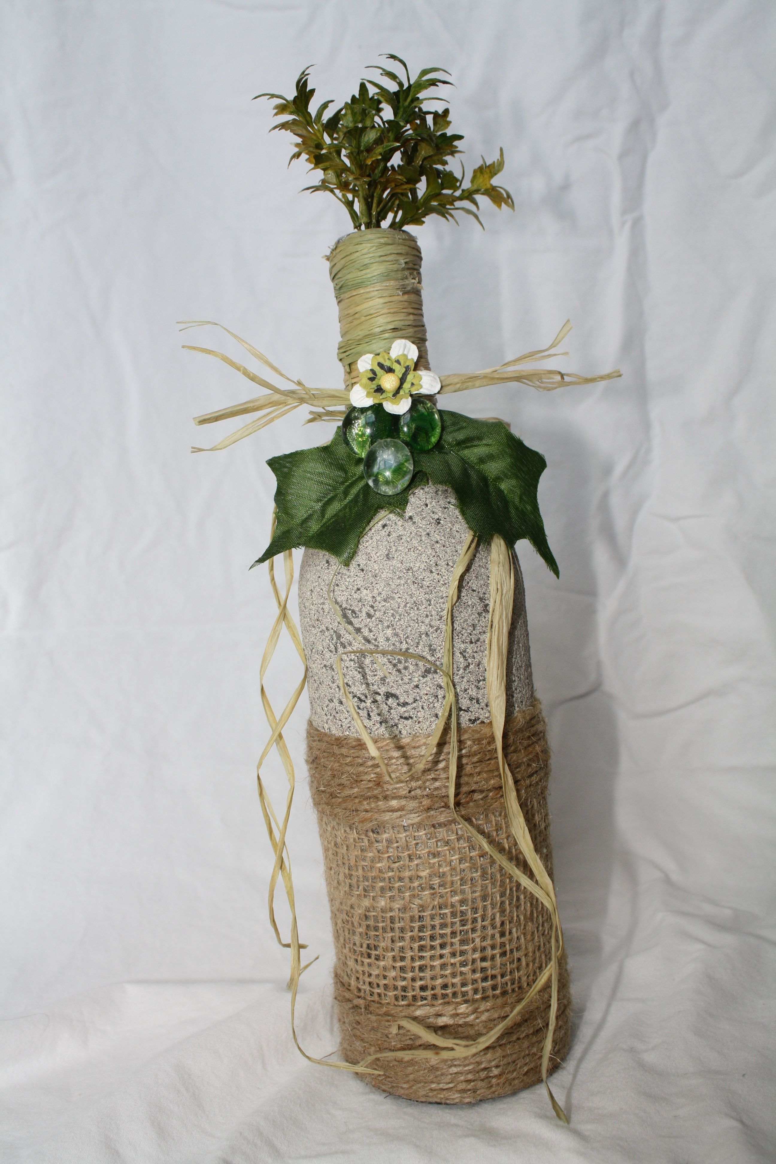 Painted twin and burlap wrapped bottle