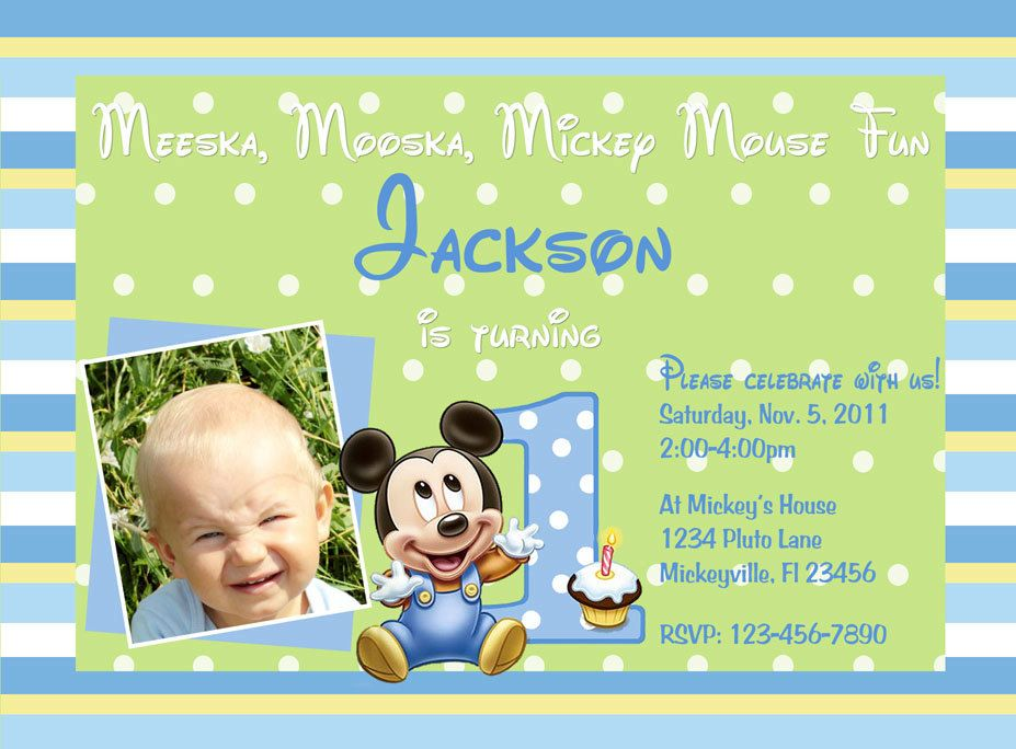 Love this!!:) Mickey Mouse 1st Birthday Invitation | andrew ...